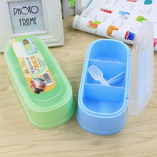 3 Grids Plastic Containaer Holder for Seasoning Rack Spice Pots Box Storage Container Condiment Jar Kitchen Tool 5ZCF263(China)