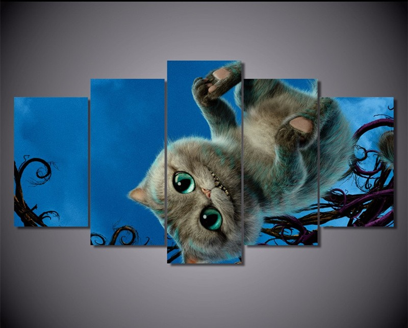 M Art's Store 5Panels Canvas Art Picture Wall Painting Cat Alice The Movies Catoon Paintings Home Decoration Canvas Paint Posters Printed