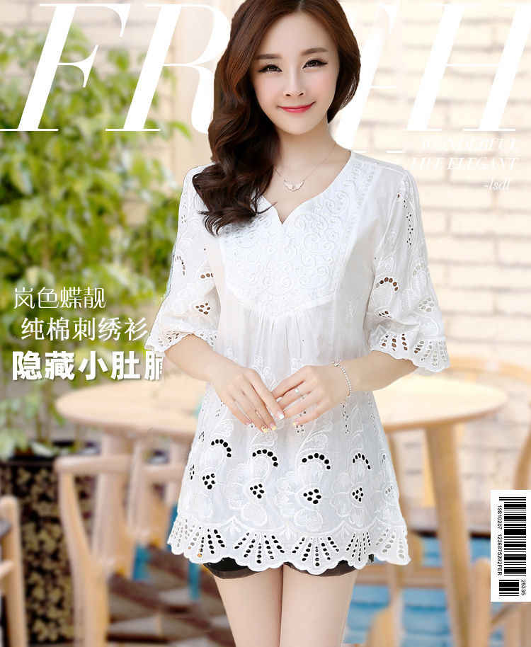 Summer Maternity Blouse Maternity Half Sleeve Hollow Crochet Embroidery Lace Cotton Blouse Shirt Maternity Casual Clothing