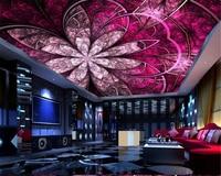 Beibehang Wall Paper European Luxury Art Flowers Ceiling Roof Wallpaper Murals Design Living Room Ceiling Decorative