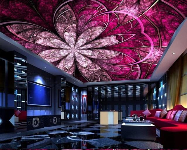 modern living room roof beibehang wall paper european luxury art flowers ceiling roof