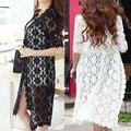 Бесплатная доставка новый 2016 мода длинный мыс выдалбливают женская половина рукав лето осень кружева кардиган 2 цвет