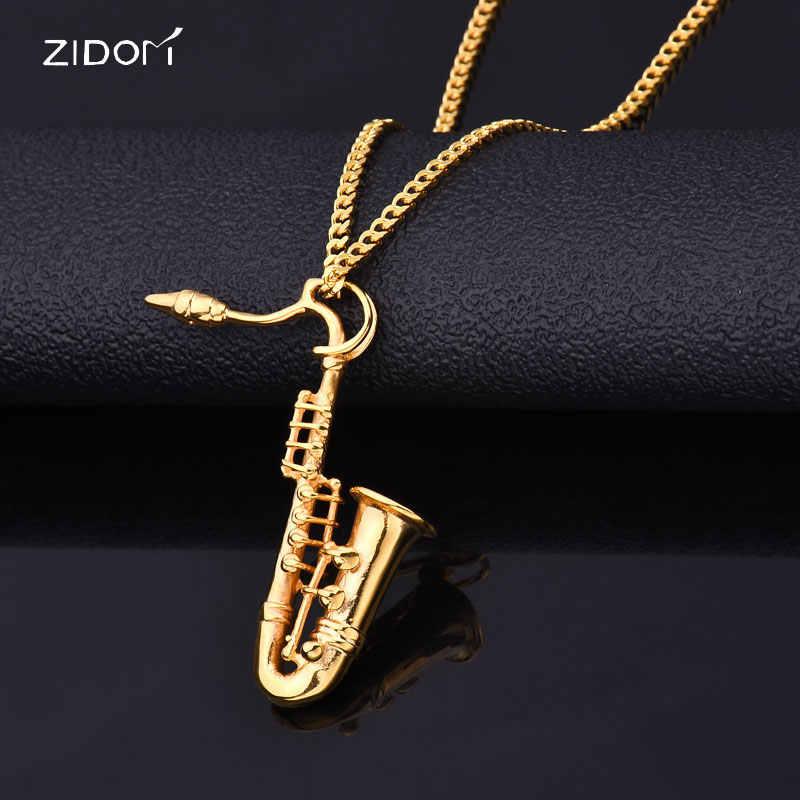 8a194f820a4a Color oro hombres hiphop saxofón colgante collares de acero inoxidable de moda  colgantes de collar para