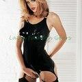Adulto atractivo de las mujeres negro vestido exótico de goma de látex ligueros clubwear vestidos