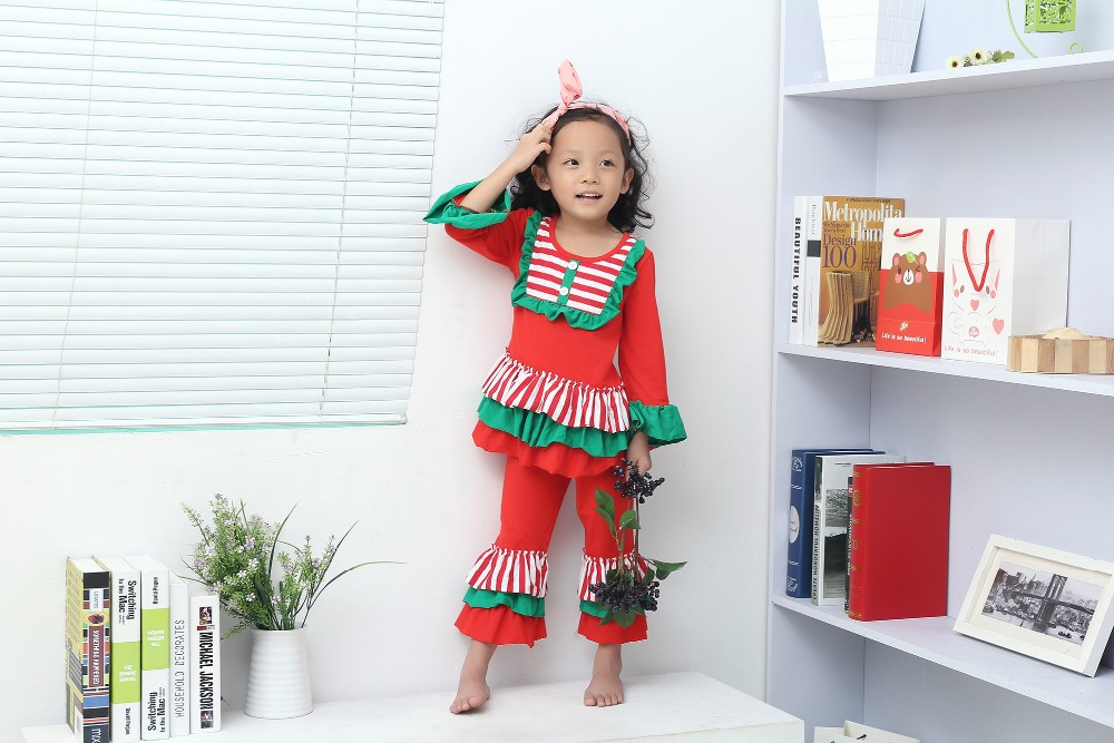 christmas clothes Fall suit girls xmas Outfit girl boutique clothing ruffle pants long sleeve baby girl christmas outfits girls girls lettuce edge trim ruffle hem pants
