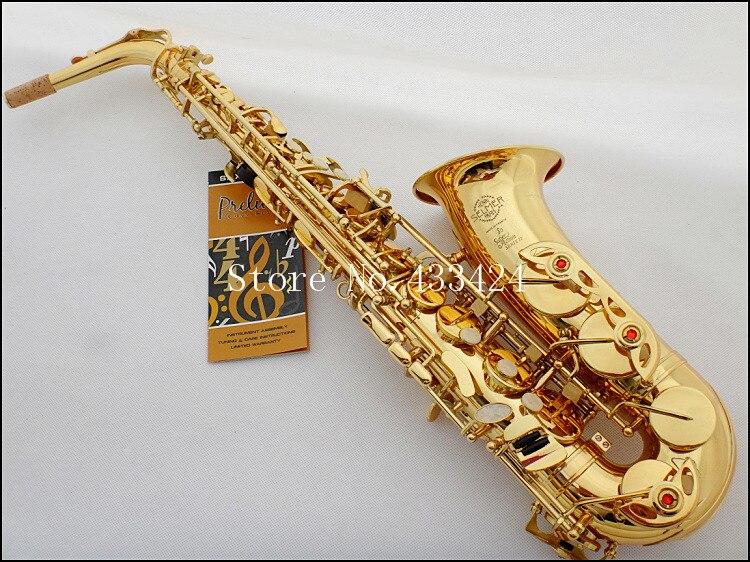 French Selmer 802 E Flat Alto Saxophone  Brand Professional  Electrophoresis Gold Saxe Musical Instrument super action II Sax