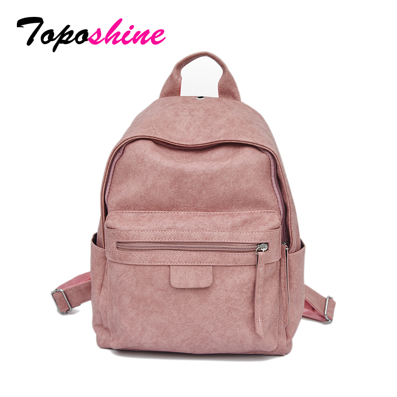 Toposhine Girl Backpacks Women Bags Retro Travel Preppy Korean Fashion Solid PU New