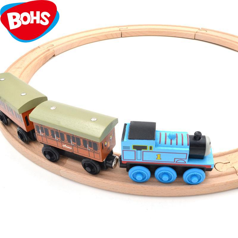 BOHS Beech Wood Thomas Train Annie and Clarabel Circle Track Railway Vehicle Playset Toys,1 SET =Track+Locomotive+Tender