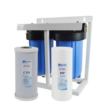 2 Stage Jumbo Pre-Filtration 10 Big Blue Water Filter with frame,1 inlet&outlet connection (PP+GAC 10x 4-1/2)