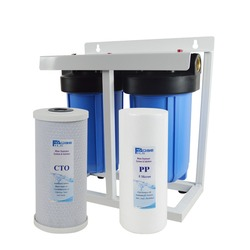 2-Stage Whole House Water Filtration System With Stand ,4 1/2x10 Sediment And Carbon Block Filters,1 brass port,Wrench