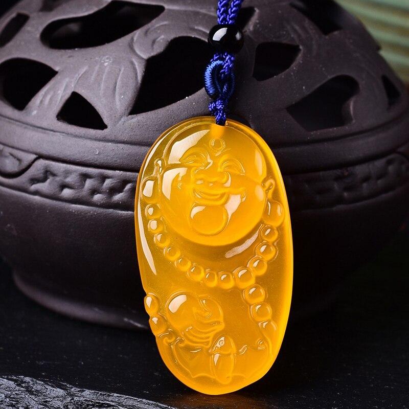 Оптовая продажа желтый халцедон натуральный кристалл богатых безопасно Будда Подвески Цепочки и ожерелья Lucky для Для женщин Для мужчин Юве...