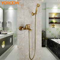 Antique Rubbed Bronze Shower Faucet Set Bathroom Mixer Bathtub Mixing Cold And Hot Colors Wall Mounted Home Improvement AYM0006