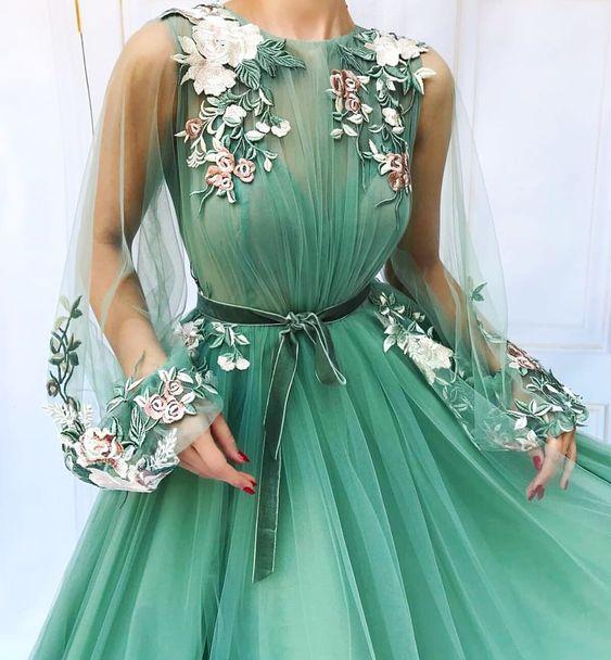 Illusion Long Sleeve Tulle A-Line Mint Green Prom   Dresses   2019 Applique Flowers vestidos de festa longo Formal   Evening     Dress