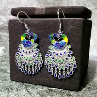 Blue Peacock Earrings For Women 999 Sterling Silver Earing Chinese Cloisonne Enamel Jewelry Boho Drop Vintage Ethnic Earrings