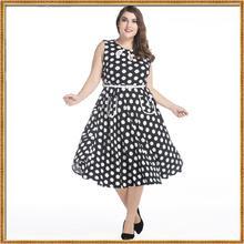 2017 women's dress plus size sleeveless dot print slim o-neck summer dresses female free shipping