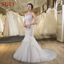 SL 010 Vintage Cheap Lace Pearls Tulle Satin Zipper Chapel Train Mermaid Wedding Dress