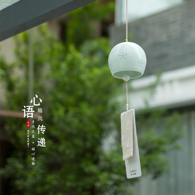Pingente de sino de vento de cerâmica feita à mão, estilo japonês, pingente de vento, decoração de casa, toques, aniversário criativo, presentes de pendurar, artesanato