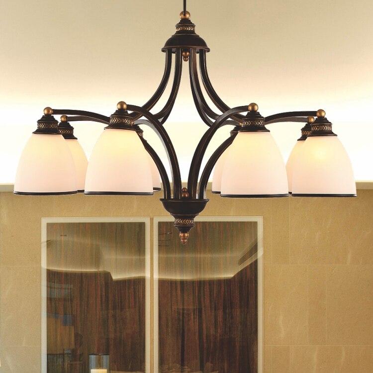 American style fashion vintage iron 8 light glass shade chandelier light