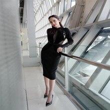 99bff631fd75f CIEMIILI 2019 Yeni Stil Uzun Sleve Elbise Yüksek Kalite Rayon Streç Ince  Shining Ünlü Kokteyl Parti Elbise Toptan