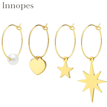 Innopes Women Bohemia Simple Large Circle Star Drop Earrings Boho Women Elegant Earring Jewelry