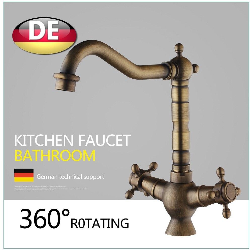 Best Price Faucet Retro Style Bathroom Sink Basin Faucet Antique Brass Double Ceramics 2 Handle Single Hole Deck Mount phasat 4308 retro dual handle bathroom sink faucet antique brass