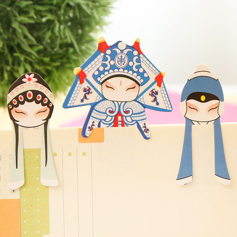 Paper Bookmarks Peking Opera Marcadores Book Markers Marque Page Kawaii Creative Bookmark Segnalibri Mark Boekenlegger School