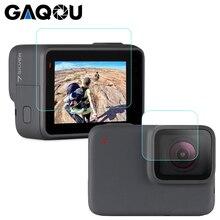 GAQOU temperli cam Gopro Hero için 7 6 5 siyah Lens kapağı LCD ekran koruyucu git Pro eylem kamera koruyucu film aksesuarları