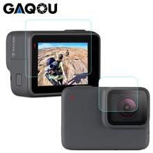 Gaqou gopro hero 용 강화 유리 7 6 5 검은 색 렌즈 캡 lcd 화면 보호기 go pro 액션 카메라 보호 필름 액세서리