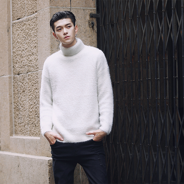 fa2ad5fc53662 Autumn Winter New Men Turtleneck Pullover Sweater Fashion Casual Loose Male  Women Solid Color Thick Knitted Sweater