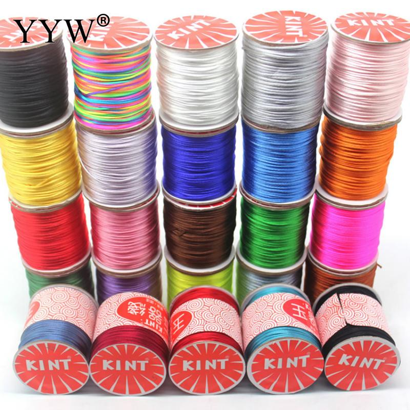 Wholesale 60m/PC 1.5mm Reel Of Nylon Blend Color Black Chinese Satin Silk Knot Macrame Cord Beads European Braided Wire 2018