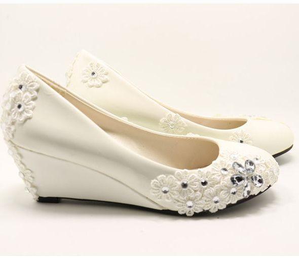 ivory wedding shoes pr677 wedges heel 6cm high elegant handmade lace rhinestones decoration dress bridesmaids pumps shoes