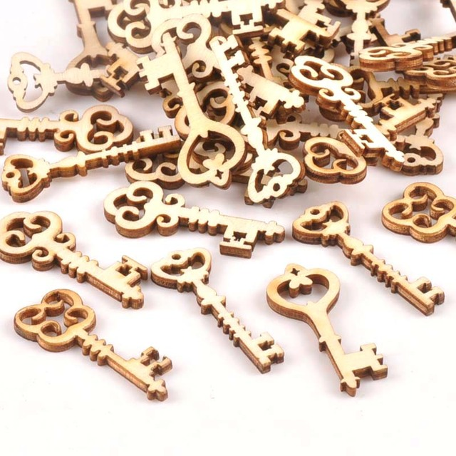 25Pcs Wooden Ornament Mixed Key Pattern DIY Crafts Home Decoration Scrapbooking Unfinished Wood Slices Accessories 16x36mm m1773