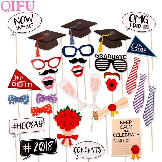 qifu photo booth props graduation 2018 bachelor cap grad congrats