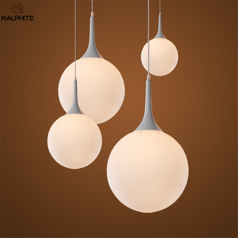 Led Milky White Glass Shade Pendant Lights Lamps Kerst Christmas Decorations Globe Luminaria Hanging Deco LED Lighting Fixtures