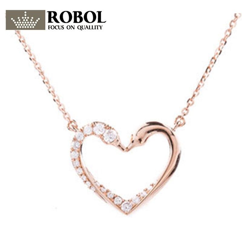 b62d03dc7aec ROBOL original SWA doble Cisne tipo amor elegante temperamento clavícula  cadena femenina copia 1 1 collar joyería