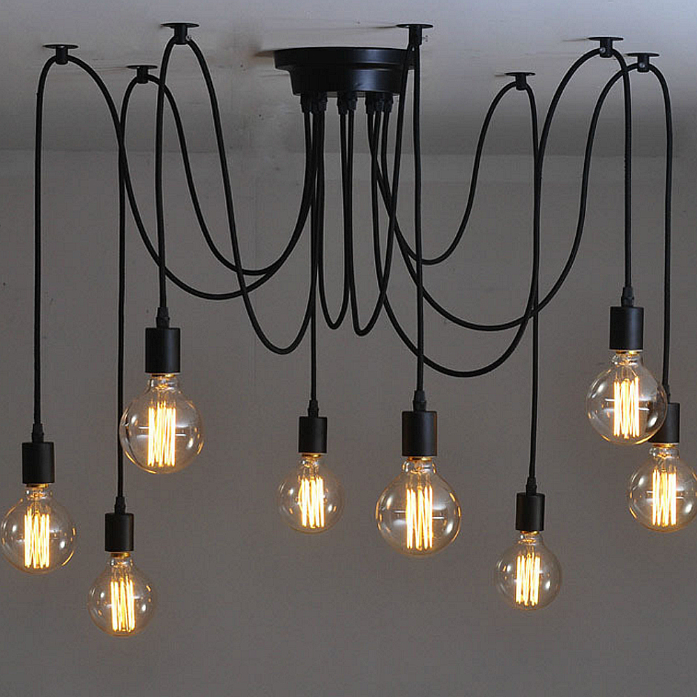 Mutiple Led Pendant Lights Modern Vintage Bedroom E27 Holder Industrial Lamp  Free Shipping Led Droplight Hanging