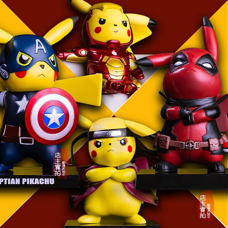 Pikachu Cosplay Deadpool Captain America Iron Man Super Mario Batman Kakashi Dragon Ball Flash PVC Figure Model Toy anime cartoon doraemon cosplay iron man captain america pvc action figure collectible toy