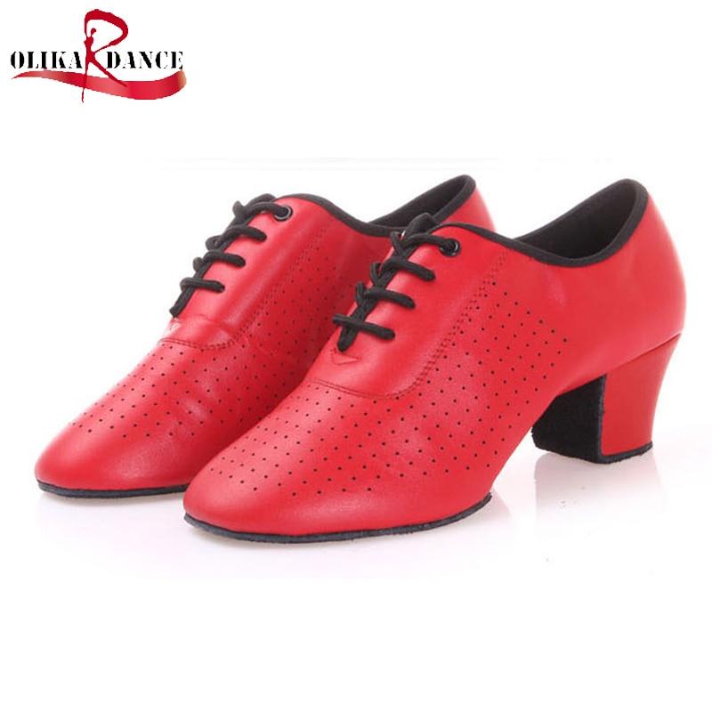 ФОТО Black/red full grain leather Latin Dance Shoes For women teacher Men Salsa Ballroom Shoes Jazz Shoes 168 Zapatos De Baile Latino