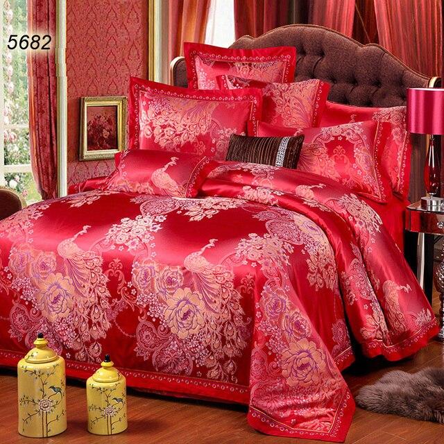 Китайский красный шелк постельного белья peakcock покрывала пион цветочные жаккард пододеяльник чистый цвет простыня 2 наволочки горячие 5682