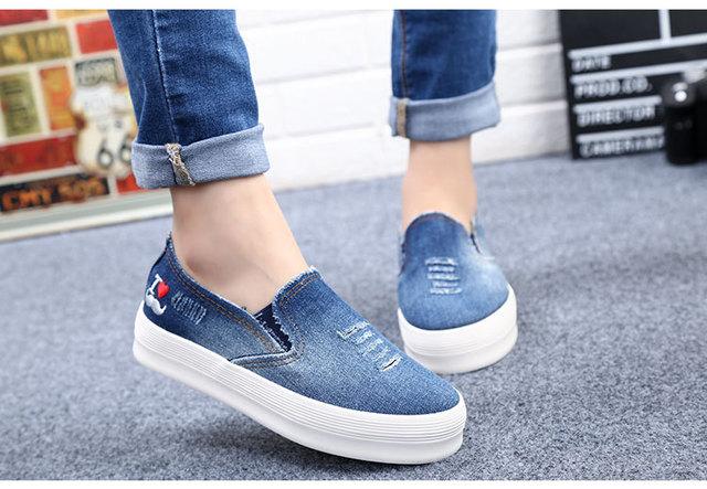 88c5e95e 2015 primavera verano estilo calzado mujer corea brida vaquero zapatos sin  cordones mocasines calzado Casual zapatillas