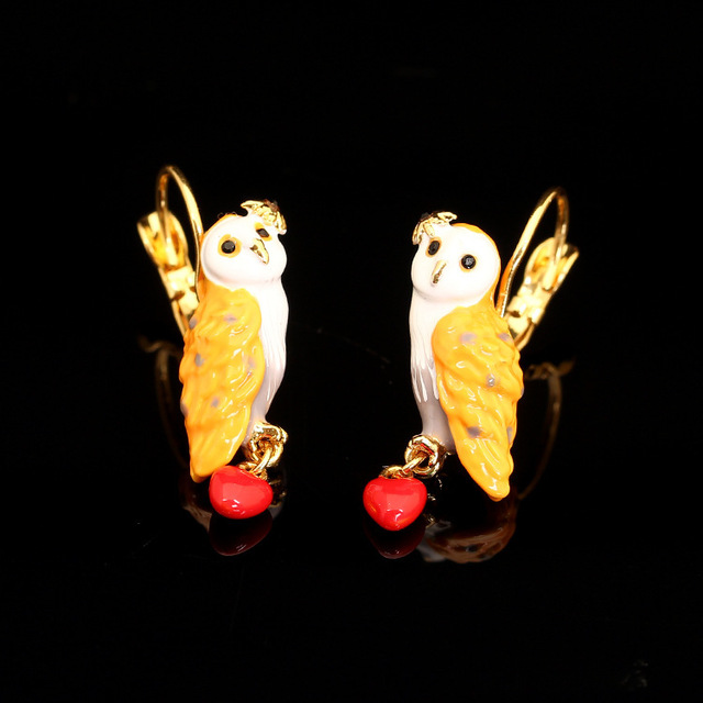France JUICY GRAPE New Pattern Enamel Snow Owl Crystal Glaze Owl Red Heart Earrings Eardrop Plating Gold Jewelry