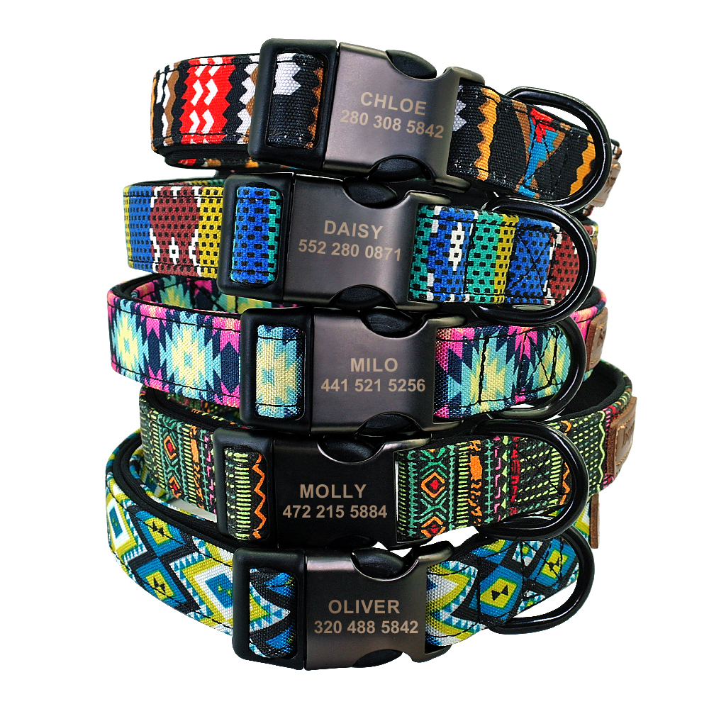 Accessories - Personalised Dog Collar With Leash Nylon Custom Pet ID Collars Colorful Printed Dogs Walking Leash for Small Medium Large Dogs
