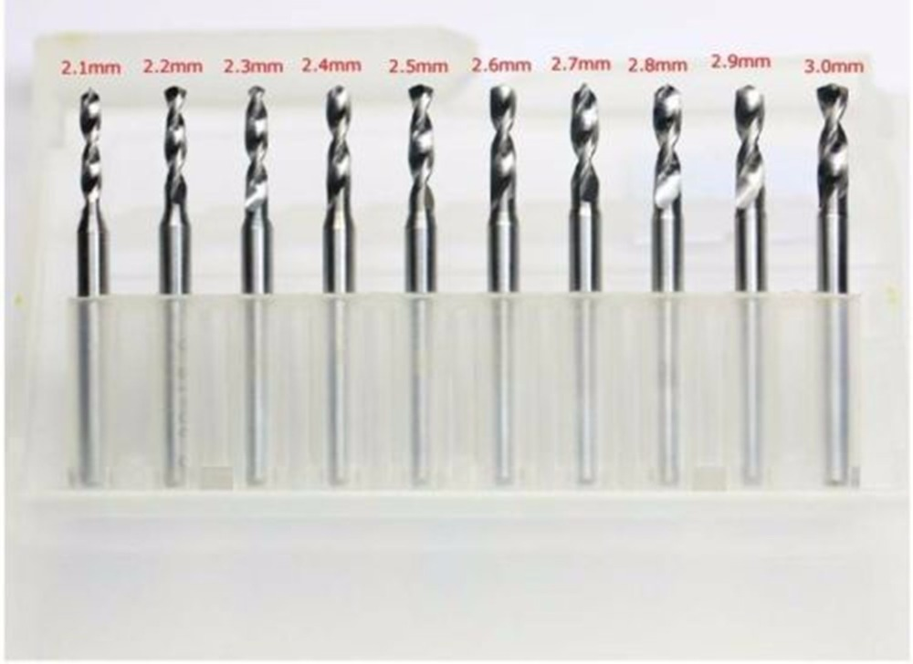 "US Stock 10pcs Carbide Micro Drill Bits 2.1 to 3 mm Shank Diameter 1//8/"" 3.175mm"