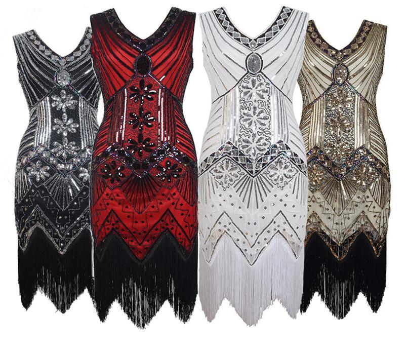 1f75b21cf Mulheres Borla Vestido Vintage 1920 s Grande Gatsby Lantejoulas Vestido Com  Decote Em V Bodycon Frisada Vestido de Festa Vestidos Melindrosa Art Deco  Dupla