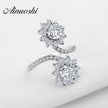 AINOUSHI New Unique Design Two Stones Flowers Wear Wedding Rings Sona Ring Luxury Flowers Fine Jewelry Women Engagement Ring