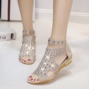 Lammei Gladiator Sandals Women Peep Toe Ankle Boots Sandal Woman Crystal Sandalias Bling Wedges 2018 Summer Shoes Zapatos Mujer римские сандали