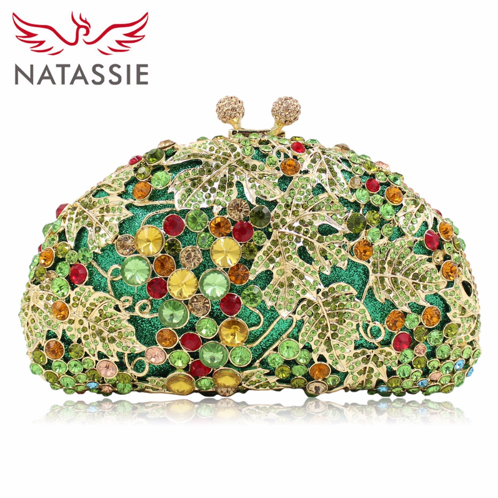 NATASSIE Women Crystal Bag Ladies Wedding Evening Clutches Bags Female Socialite Style Party Purses Gold Army Green natassie women evening bags ladies crystal wedding clutch bag female party clutches purses