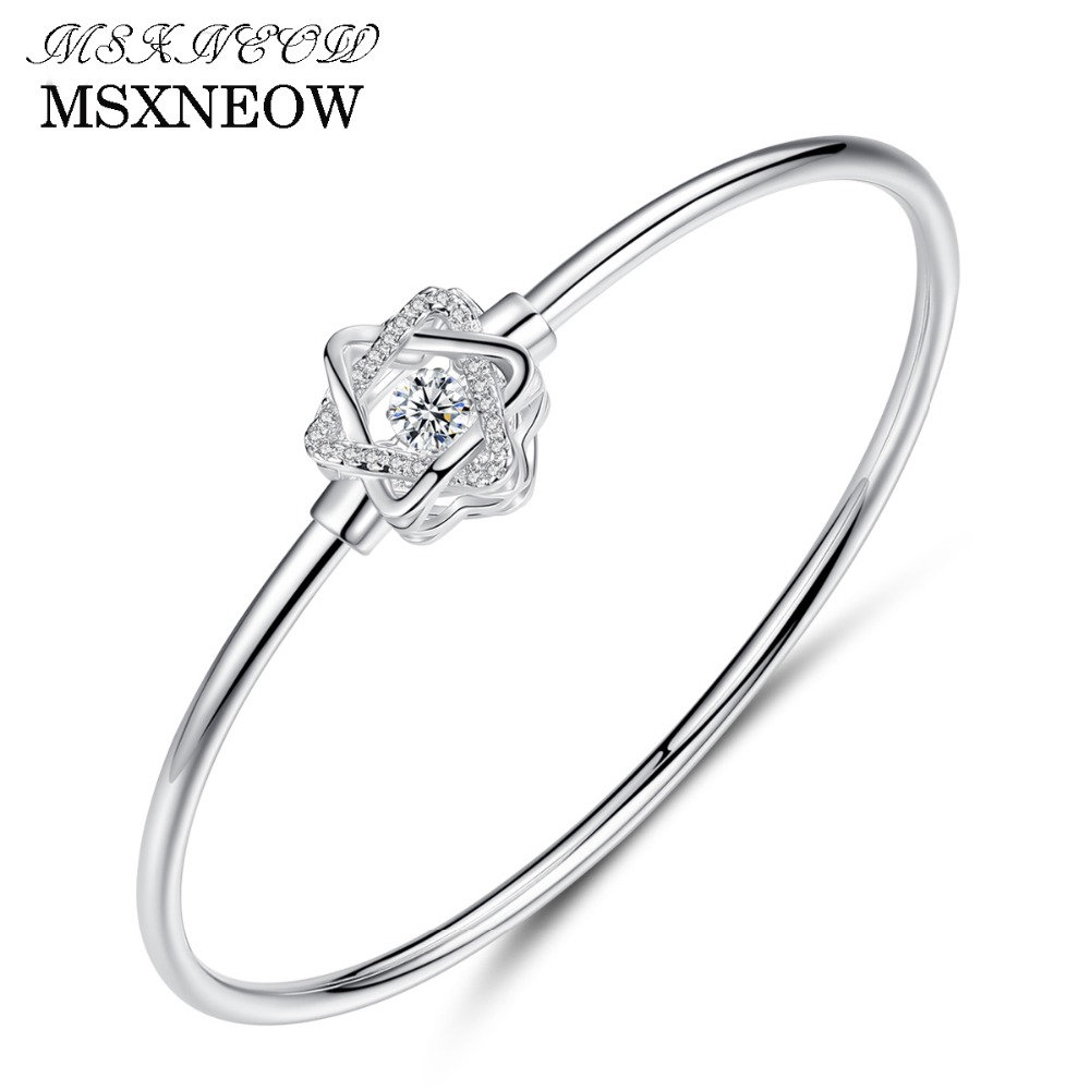 MSXNEOW 925 Sterling Silver Bracelet White Color Clear shiny CZ Love Bracelets For Women Men Bracelets BanglesSB0068
