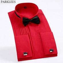 Camisa de esmoquin para hombre, camisa de esmoquin Formal de puño francés, con cuello de ala ancha, en rojo, blanco y negro, camisas de boda, gemelos franceses