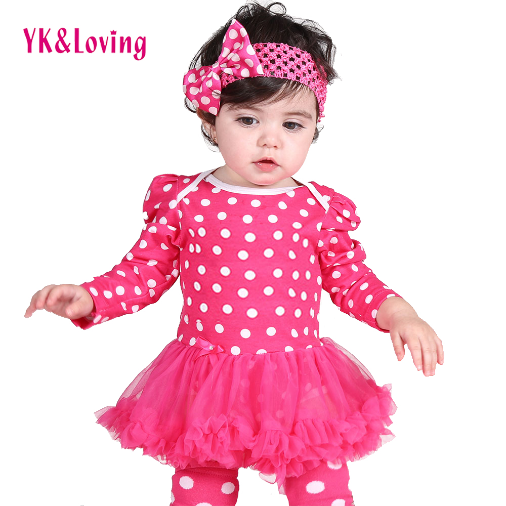 2Pcs New Born Baby Girl Clothes Winter Clothing Set Long Sleeve Polka Dot Cotton Romper